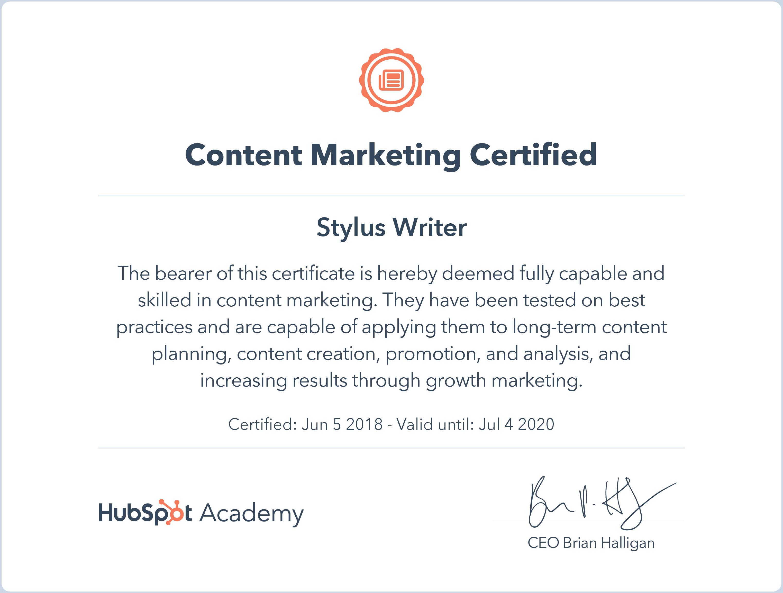 Hubspot Certificate Content marketing
