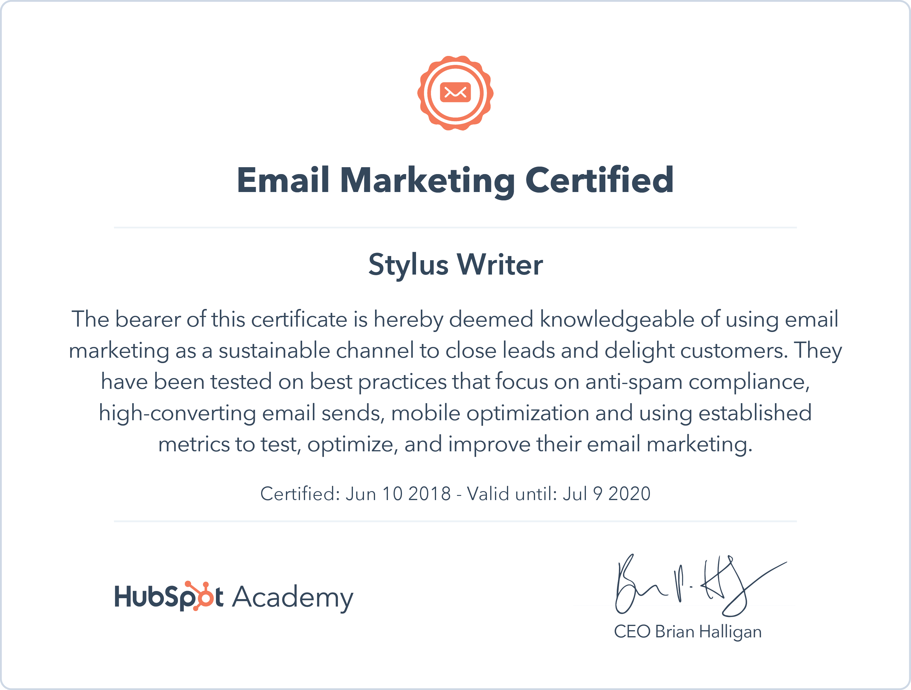 Hubspot Certificate email marketing